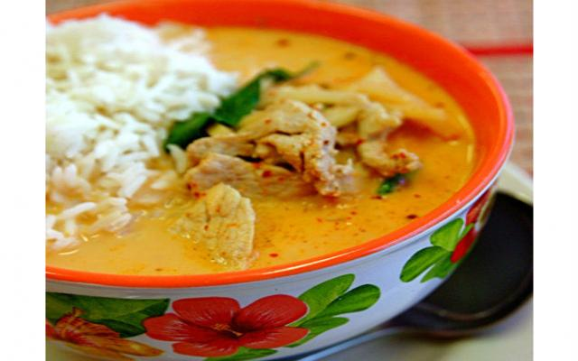 Bowl of red chicken curry